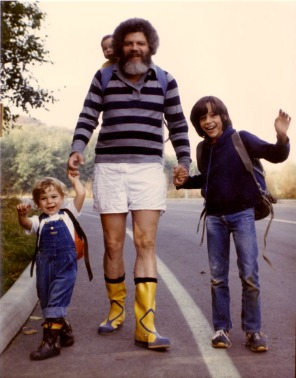 Ready for the hike to the beach. Mom takes the picture of Josh, me (tiny head), Dad, and Darrek ~1980