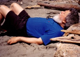 Dad enjoys the sunshine at Second Beach ~1998