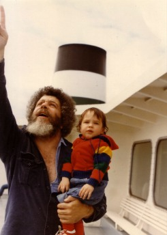 Dad and me on the ferry ride from Seattle to Bainbridge on our way to La Push ~1982